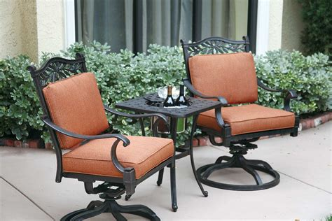 cast aluminum patio furniture sets patio furniture bistro set cast aluminum swivel rocker 3pc