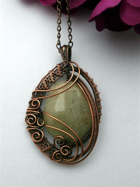 wrap jewelry wire wrapped pendant necklace yellow quartz in copper
