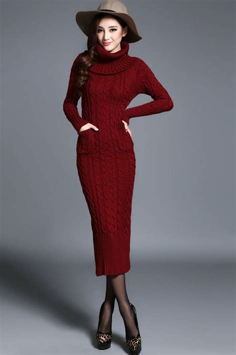 how to knit dress turtleneck cable knitted dress oasap
