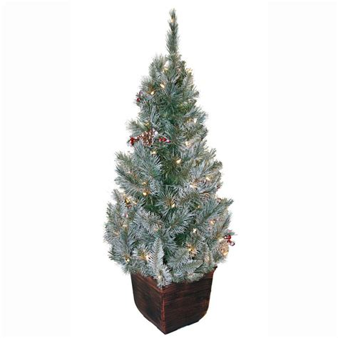 potted pre lit tree general foam 4 ft pre lit potted frosted pine artificial