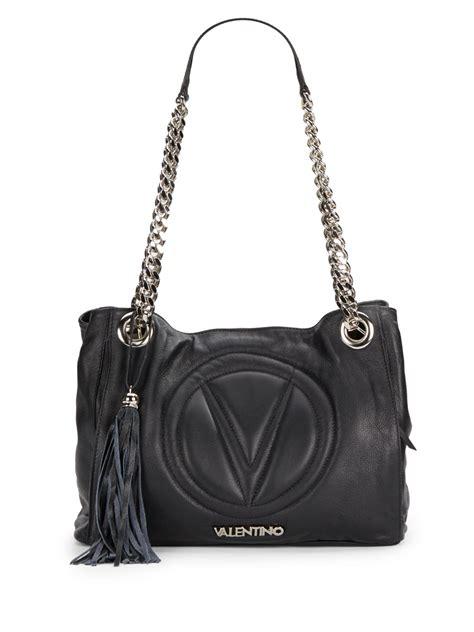 black leather the shoulder bag valentino luisa quilted leather chain shoulder bag in black lyst