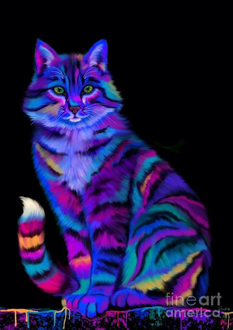 rainbow cat painting rainbow painted tiger cat painting by nick gustafson