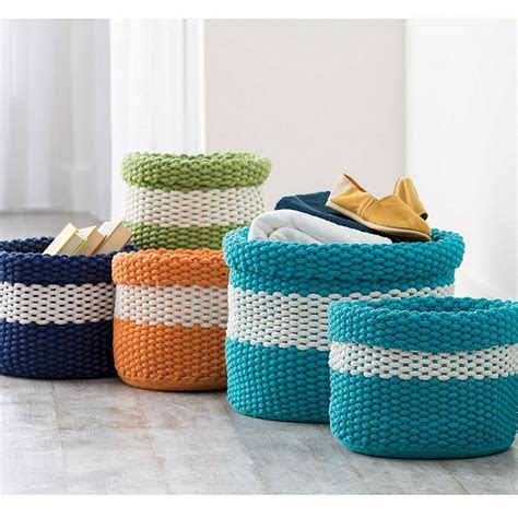 knitting baskets knitted storage baskets the company store