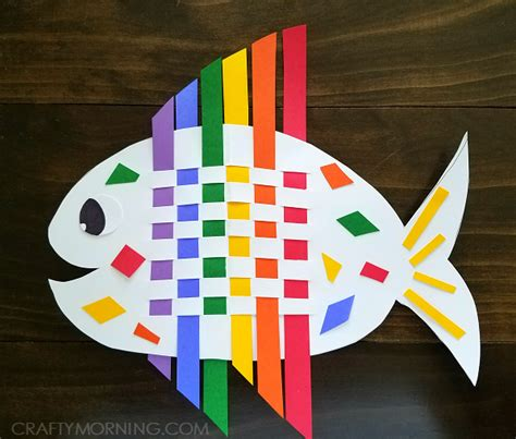 paper weaving crafts weaving rainbow fish craft crafty morning