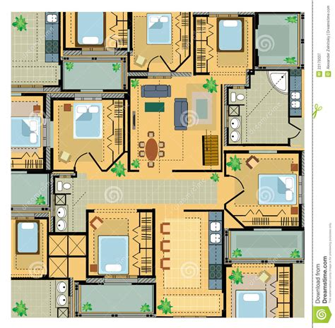 house pland color plan house stock vector image of drawing dwelling