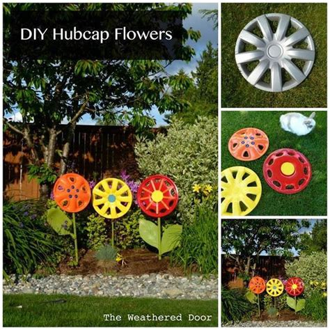 flowers for the garden ideas creative ideas diy hubcap flower garden decor