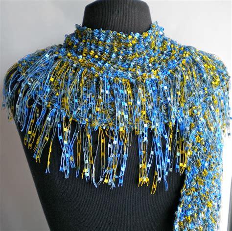 knitting yarn for scarves scarf blue fringe ribbon ladder yarn island waters