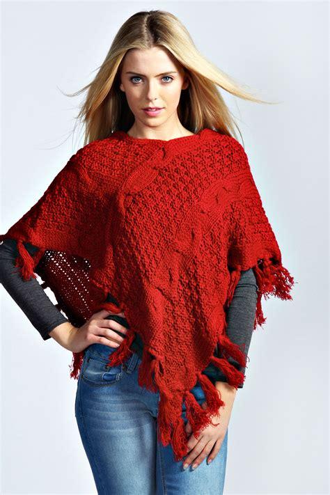 womens knit poncho boohoo womens lydia cable knit tassel poncho one