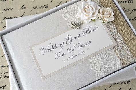 wedding picture books luxury personalised wedding guest book album set lace