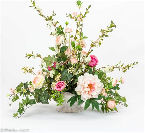 artificial floral arrangements pink silk floral arrangement with blossom branch