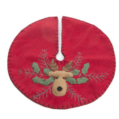 embroidered tree skirts small reindeer embroidered tree skirt