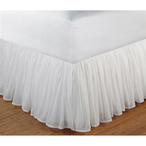 bed skirts greenland home fashions cotton voile bed skirt walmart