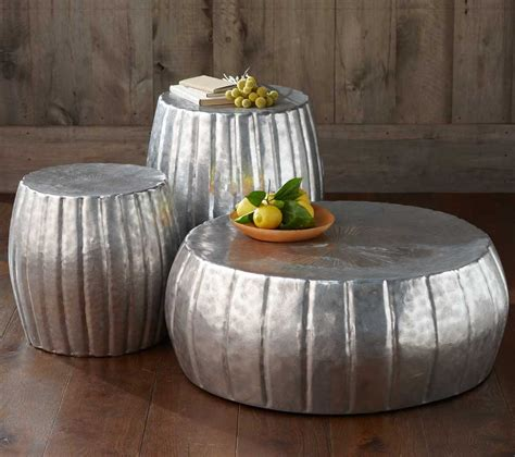 Silver Round Hammered Metal Coffee Table For Living Room With Brown Hardwood Floor Tiles Ideas