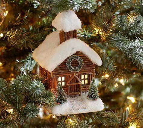 cabin ornaments log cabin ornament pottery barn