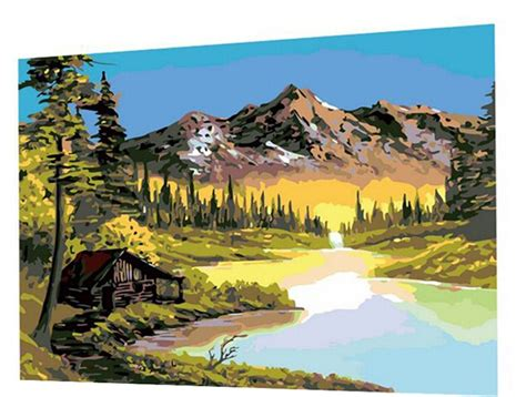 bob ross painting house 16x20 inch diy painting bob ross paintings paint on canvas