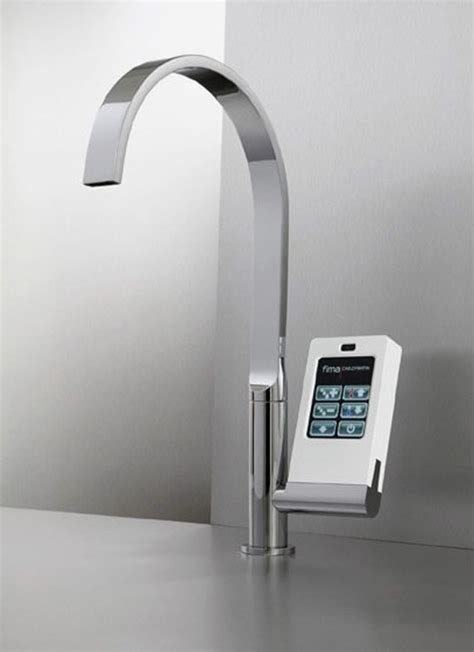 touch kitchen faucets hi tech kitchen faucet with touch screen controller digsdigs