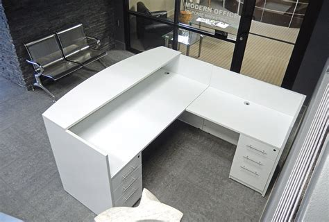 frosted glass l shaped desk l shaped white reception desk w frosted glass panel