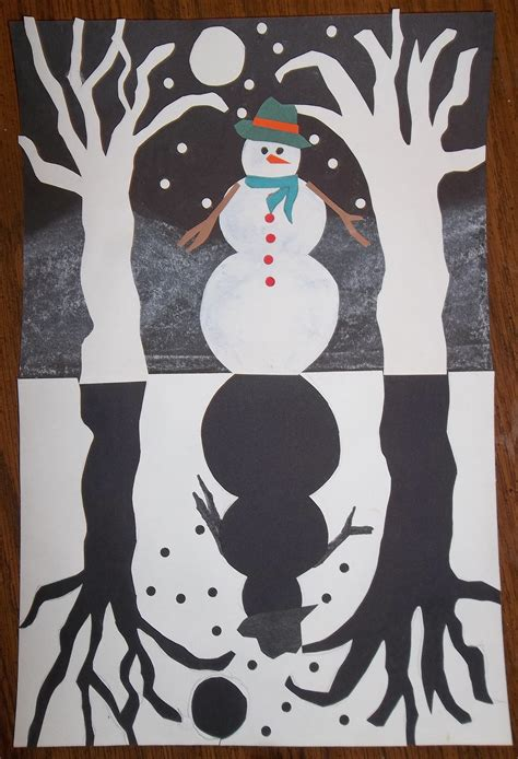 winter craft projects snowy silhouette negative and positive space