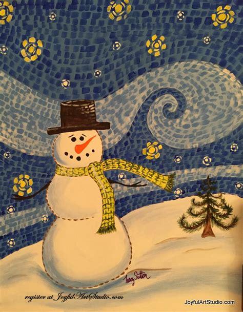 paint nite snowman starry snowman paint joyful arts studio