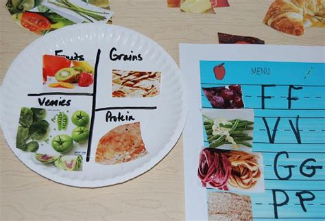 paper plate food crafts healthy food habits in preschool sorting and a paper