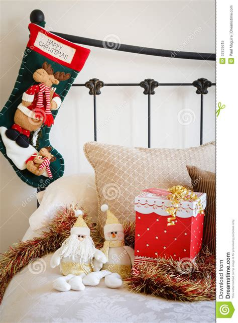 Simple 2 Bedroom House Plans christmas stocking on bed royalty free stock photo image