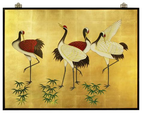 hand painted cranes wall plaque asian artwork by