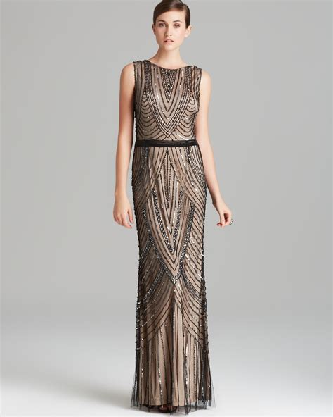 beaded gown papell gown sleeveless beaded in lyst