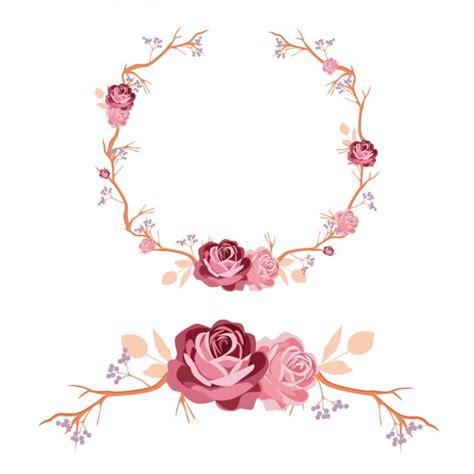 design a ornament roses wreath and ornament design vector free