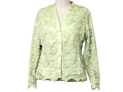 beaded evening jackets vintage 1970 s jacket 70s bryan womens lime green