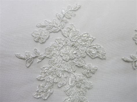 white beaded lace white mesh with embroidery beaded lace