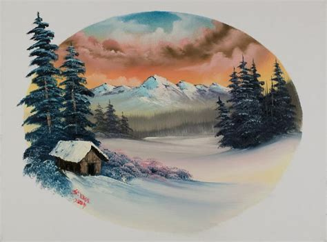 bob ross paintings winter bob ross warm winter oval painting for sale