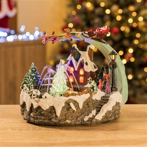 santa sleigh decorations led musical ornament
