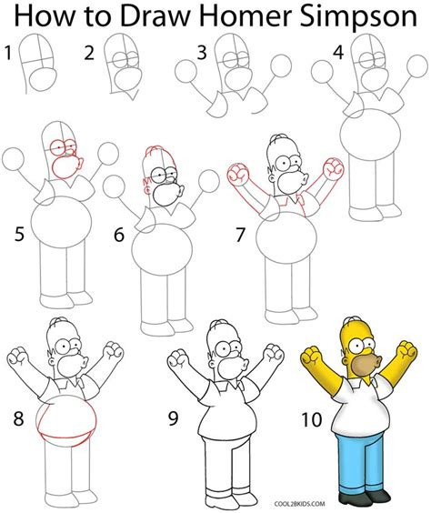 how to draw step by step how to draw homer step by step pictures cool2bkids