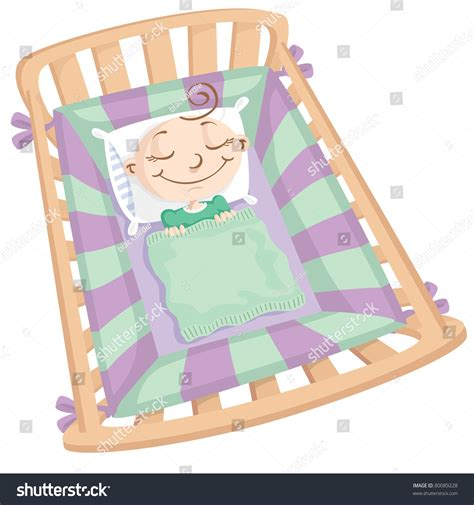 babies sleeping in crib baby sleeping in crib stock vector illustration 80089228