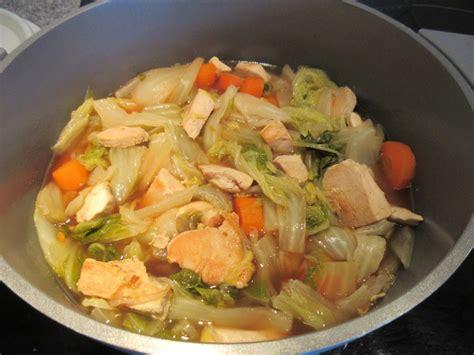 pot 233 e de chou chinois et poulet diet d 233 lices recettes diet 233 tiques