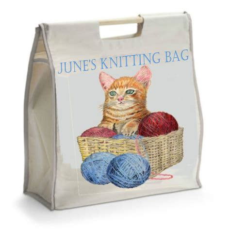 personalised knitting gifts personalised knitting bag with wooden handles ideal gift
