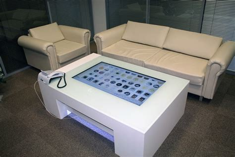 touch screen coffee table multitouch interactive coffee table is a class apart with