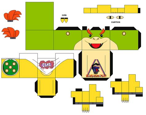 paper craft mario bowser jr mario 1 cubeecraft papercraft by