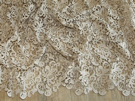 lace fabric scalloped edge couture bridal heavy guipure lace fabric