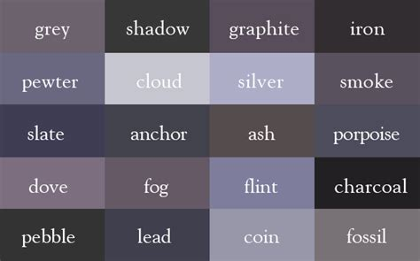 different shades of gray different shades of grey names images