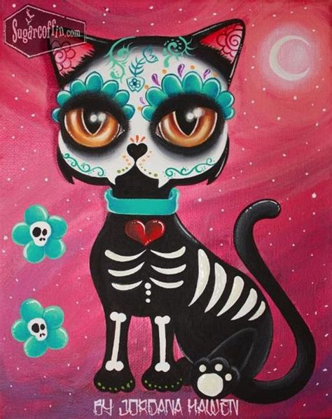 cat painting viva skullmania on day of the dead dia de and