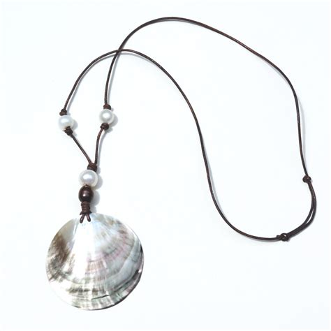 shell pendants jewelry freshwater pearl shell pendant necklace cocho designs