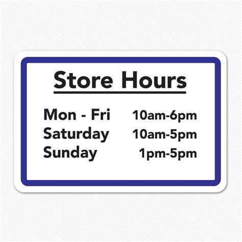 store hours custom store hours sign sticker genius