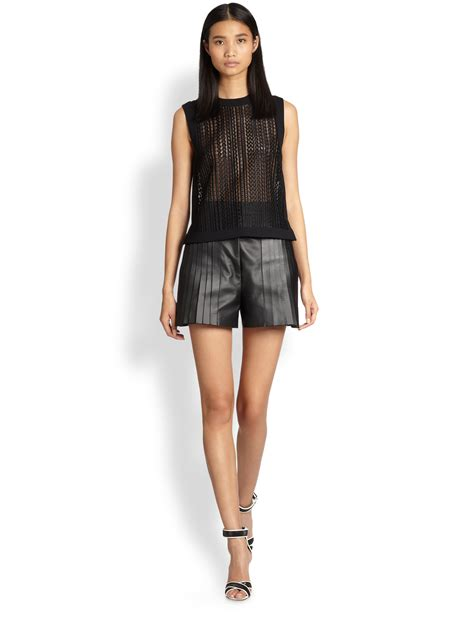 leather shorts wang pintuckpleated leather shorts in black lyst