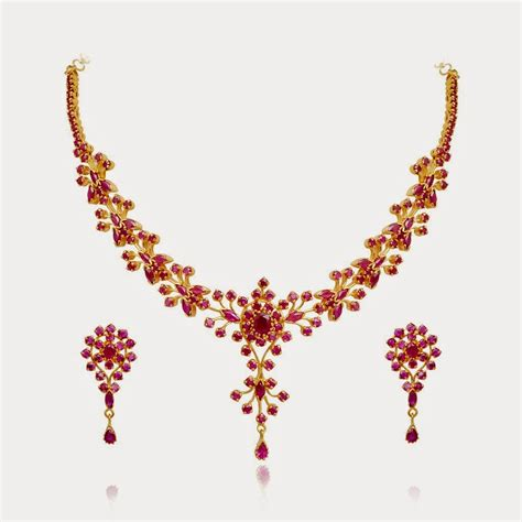 ruby gold necklace jewellery designs simple gold ruby jewellery necklace set