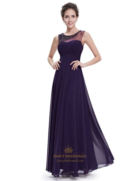 dress with beaded neckline purple sleeveless chiffon floor length prom dress with
