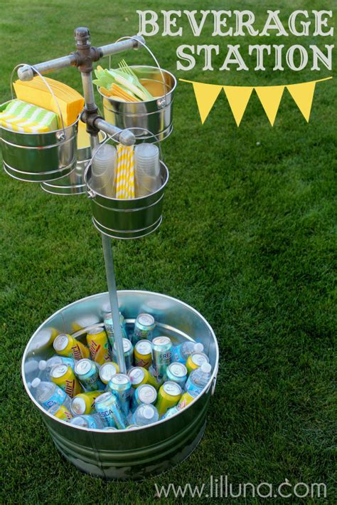 Cheap Outside Wedding Decorations by Beverage Station