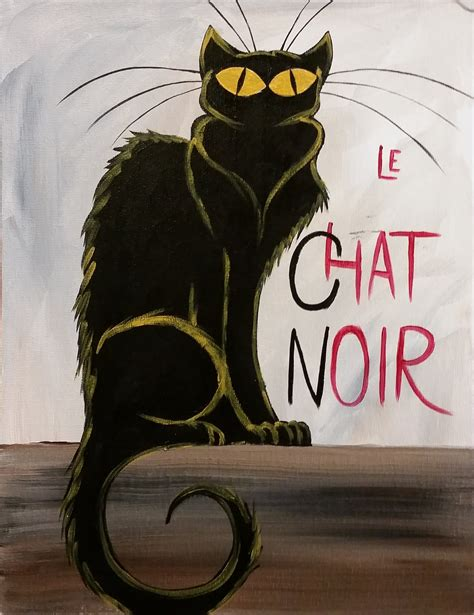 black cat painting designs le chat noir step by step acrylic painting on canvas for