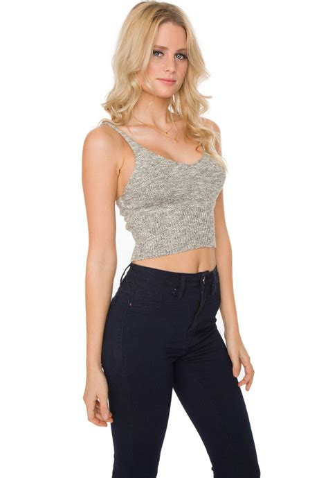 knit crop top zoe knit crop top grey