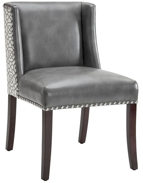 grey leather dining chairs marlin grey leather and fabric dining chair set of